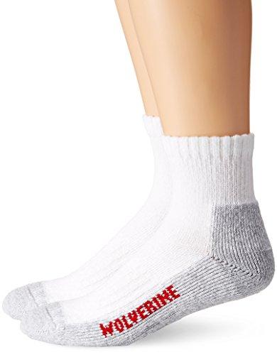 Wolverine Men's 2 Pack Steel Toe Quarter Socks, White, Sock Size:10-13/Shoe Size: 9-13