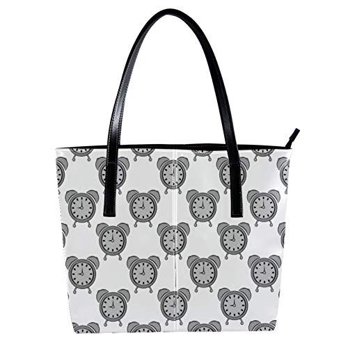 Damenhandtasche Einfachheit Stil Top Griff Tasche Praktische Umhängetasche Bestes Geschenk Wecker grau 40 x 29 x 9cm