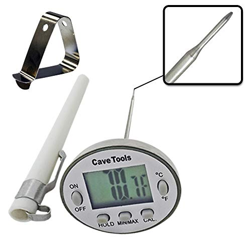 Instant Read Digital Thermometer for Cooking BBQ Grilling Candy Chocolate Meat Baking Liquids Smoker - Stainless Steel Casing Long Food Probe & LCD Display by Cave Tools