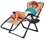 EZCHEER Zero Gravity Chair Oversized, Support 450 lbs 31.5 inch Extra Wide Folding Patio Lounge Chair with Cup Holder and Headrest, Seat Adjustable Outdoor Beach Yard Chair (Beige)