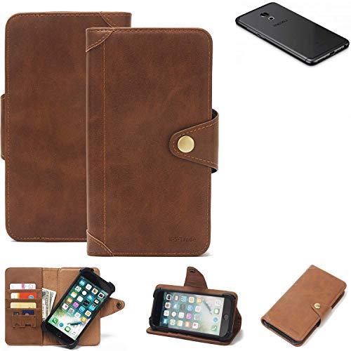 K-S-Trade® Handy Hülle Für Meizu Pro 6S Schutzhülle Walletcase Bookstyle Tasche Handyhülle Schutz Case Handytasche Wallet Flipcase Cover PU Braun (1x)