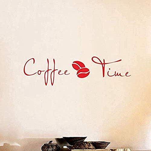Pegatinas de pared, Coffee Time Wall Art Quotes Decal Sticker Vinilo para cafetería u oficina Decoración para el hogar 72x18cm