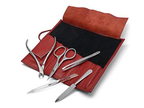 GERmanikure 5 pièces en acier inoxydable mat manucure Set en rouge Rouleau étui en cuir par...