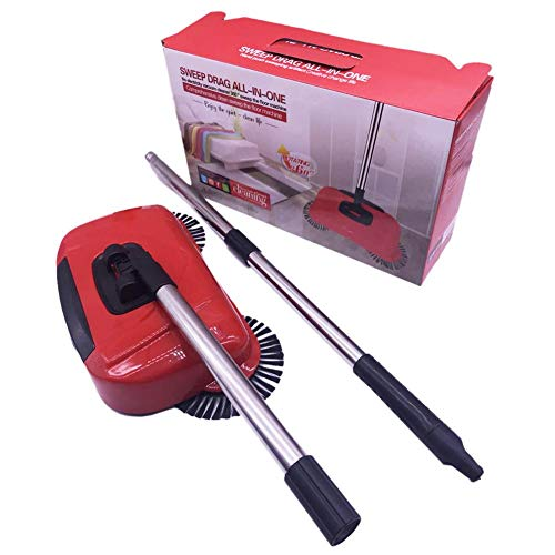 Household Cleaning Hand Push Automatic Sweeper Broom, Sweeper Convenient Broom Innovative 360 Degree Rotating Cleaning Sweeper Hand-push Vacuum Sweeper Hard Floor Sweeper Stainless Steel Broom Cleaner