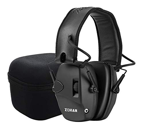 ZOHAN EM054 Electronic Shooting Earmuffs, Sound Amplification Noise Reduction Ear Protection Muffs for Gun Range - Black with Case