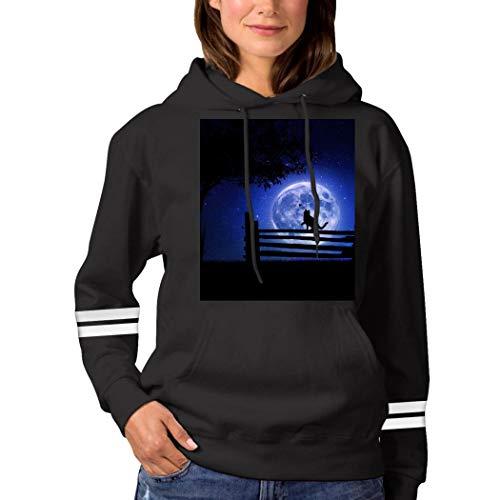Cat in The Moonlight Sweatshirt 3D Print Hoode Sweatshirts Funny Pullover Tops Fall Winter for Women Black L