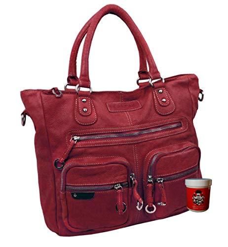 LL Baron of MALTZAHN Damen Schultertaschen FLAKONE red-Beere Shopper-714 aus Leder incl. Lederpflege