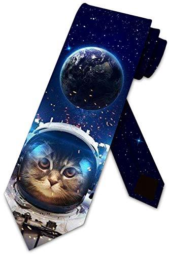 Space Cat Ties Mens Funny Cat Necktie Astronaut Cat Tie by Three Rooker