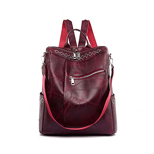 Mochila de cuero de las mujeres de gran capacidad impermeable mujer viajes compras bolsas antirrobo mochila escolar para niñas, color Rojo, talla Talla única