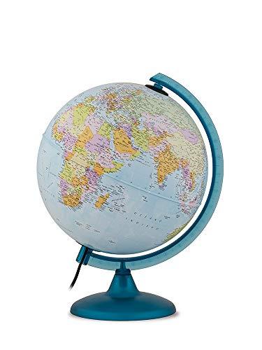 Tecnodidattica – Mappamondo Night&Day per Bambini e Ragazzi | Doppio effetto Cartografia Politica e Costellazioni | Luminoso e girevole | Meridiano graduato | Testi in Italiano | Diametro 25 cm