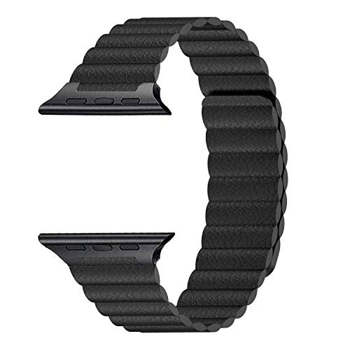 InUnity Compatible with Apple Watch Band 44mm 42mm Black - Upgrade Adjustable Leather Strap with Ultra Secure Magnetic Closure System for iWatch Series 4/3/2/1