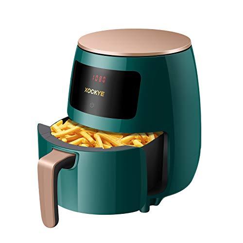 Freidora de aire sin aceite, freidora de aire de 4,5 l, parrilla/hornear, pantalla LCD digital y antiadherente extraíble cesta apta para lavavajillas, 8 funciones de cocina (verde)