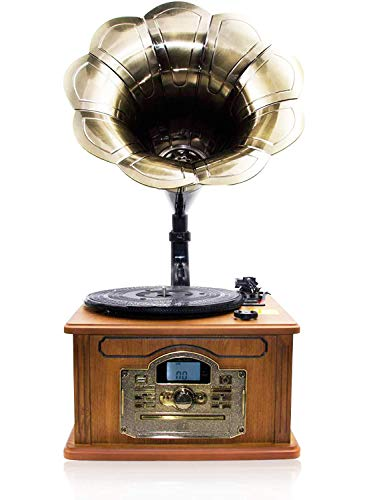 Lauson Retro-Bluetooth-Grammophon mit Encoding-Funktion, Vintage Naturholz,Trompete Plattenspieler mit eingebauten Lautsprechern, Radio, CD, USB, MP3, 3 Geschwindigkeiten (33/45/78 RPM), CL747