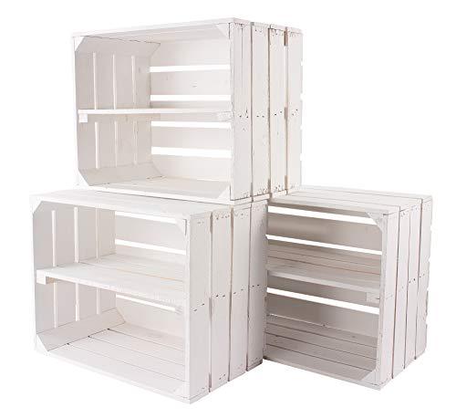 4er Set weiße Holzkiste mit Mittelbrett -längst- Neue Obstkiste in weiß/Shabby chic Look mit Regalbrett flambiert - Schuhregal Bücherregal Obstkistenregal Regal Regalkiste 50x40x30 cm