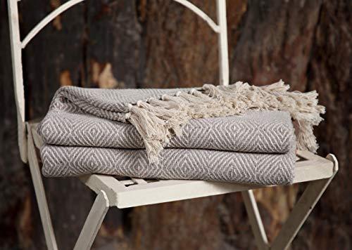 EHC Luxus Wende Superweiche Baumwolle Diamond Large Throw für Sofa, Doppelbett, Sessel - Beige, 150 x 200 cm