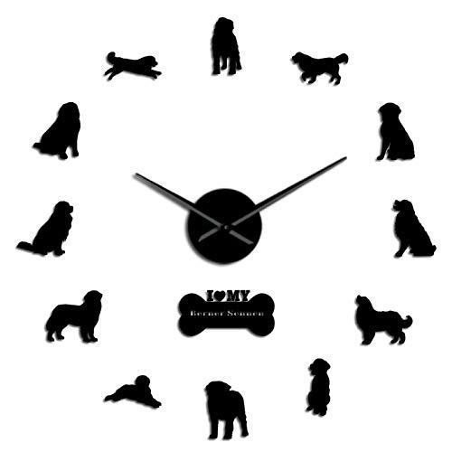 YQMJLF Reloj Pared DIY 3D Grande Reloj de Pared silencioso sin Marco para Perro 3D, Perro de montaña bernés, Reloj silencioso Gigante DIY, decoración hogar del Perro de Ganado de Berna Negro