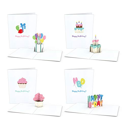 Lovepop Notecard 4-Pack Pop Up Cards, Birthday Cards, Thank You Cards With Envelopes, Thank You Notes Greeting Cards, 3D Card, Greeting Card, Pop Up Notecard