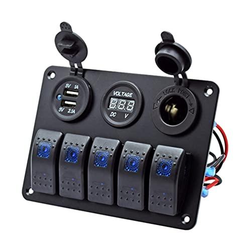 VICASKY Panel de Interruptor Basculante de 5 Bandas Panel de Interruptor Basculante de Aluminio Tablero de Conmutación 5 Pin ON/Off Placa de Interruptor de Modificación para Automóvil