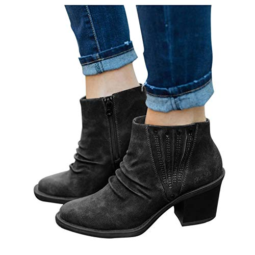 Gibobby Womens Sandals Boots for Women Ankle Booties with Heels Wedges Zipper Boots Round Toe Fashion Cowgirl Combat Platform Boots