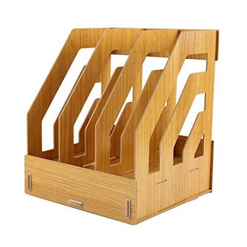 Ablagesystem für den Schreibtisch Desktop-Datei-Rack-Desk Organizer und Speicher-1 Schublade und 3 Spalten Vertical File Rack Magazin File Storage Box aus Holz File Sorter Ordner-Ablagesysteme