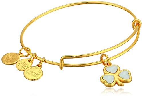 Alex and Ani Women's Crystal Shamrock Bracelet, Shiny Gold, Expandable