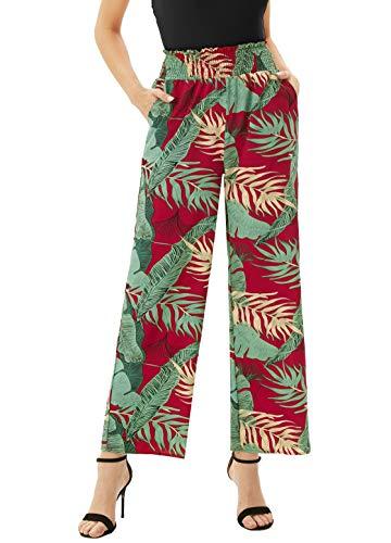 Women Tropical Patch Pants Floral Wide Leg Boho Palazzo Ankle Loose Pants -1 XL