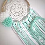 Atrapasueños cazasueños hecho a mano color mint para decoración habitación bebé boho