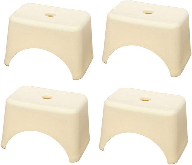 (4 Pack) Yellow Plastic Square Stool, Thick Bathroom Stool