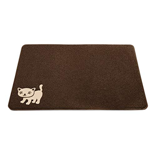"""Smiling Paws Pets Cat Litter Mat, BPA Free, XL Size 35' x23.5"""", Non-Slip - Tear & Scratch Proof, Easy to Clean Kitty Litter Catcher with Scatter Control (Extra Large Brown)"""