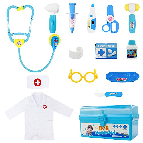 Fajiabao Doctor Kits for Kids Medical Set Toys Doctor Coat Indoor Family Games Dress Up Costume Role Pretend Play Easter...