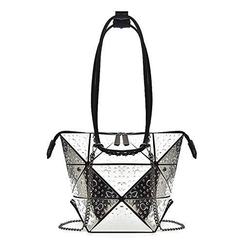 QXbecky Borsa da donna casual tendenza deformazione rombica borsa elegante retrò borsa da donna varietà laser borsa tracolla 34x27x1cm femminile