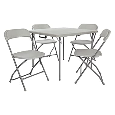 Office Star Resin 5-Piece Folding Chair and Table Set, 4 Chairs and 3-Feet Square Table