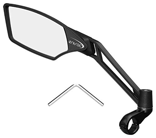 Entrac Handlebar Bike Mirror Clear Wideangle RearView AntiGlare Coating Shatterproof Scratchproof Glass Highly Adjustable FiberReinforced Nylon Structure Comes with a Hex Key Chrome Left