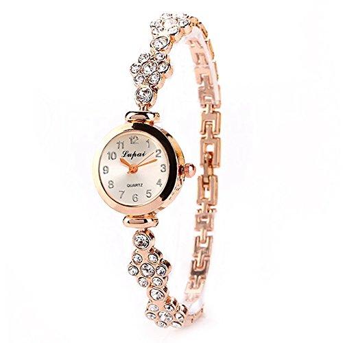 VVXXMO Reloj de pulsera de cuarzo con esfera de cristal para mujer, de acero inoxidable, duradero y suave joyería de decoración