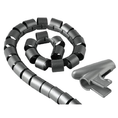 Hama Kabelschlauch mit Einziehhilfe (flexibler Kabelkanal für Kabelmanagement und Kabelschutz, Kabelspirale für flexible Bündelweite, Kunststoff, Ø 20 mm, 2,5m) silber