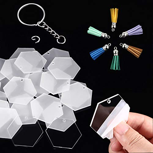 24 Pieces Christmas Acrylic Transparent Hexagon Discs Clear Acrylic Discs with 24 Pieces Key Chains and 24 Pieces Silver Tassel Pendant Keyring for DIY Projects and Crafts