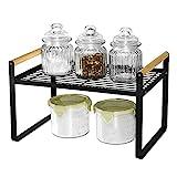 Estantería de cocina organizadora, estantería para especias, hierro y mango de madera, adecuado para el hogar, cocina y armario de cocina, color negro (32 x 21 x 20)