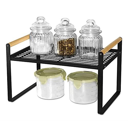 Scaffale da cucina, portaspezie in ferro e manico in legno, adatto per la casa, la cucina e l'armadio della cucina, colore nero (32 x 21 x 20)