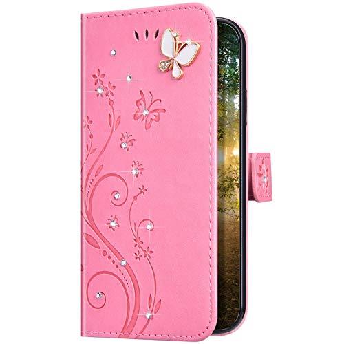 Uposao Kompatibel mit Samsung Galaxy A10 Hülle Glitzer Bling Strass Diamant Schmetterling Handyhülle Brieftasche Schutzhülle Leder Tasche Wallet Flip Case Cover Klapphülle Kartenfach,Rosa