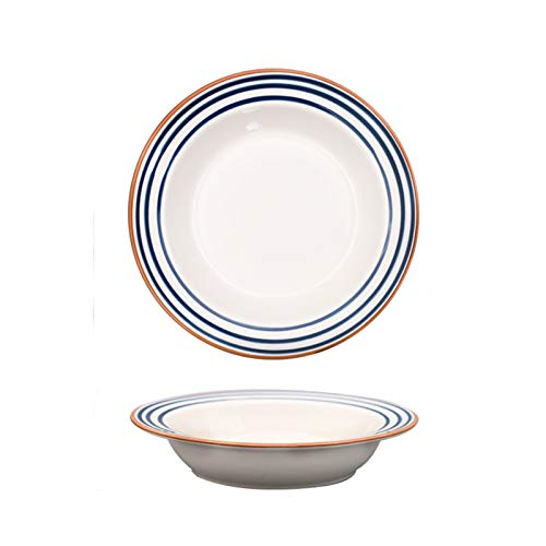 kerryshop Dinner Plate White Dinner Plates with Blue motifs, Ceramic Glaze Pasta, Salad Plate, Straw Hat Shape Soup Plate, Microwave and Oven Safe. Plate (Color : B, Size : 2pack)