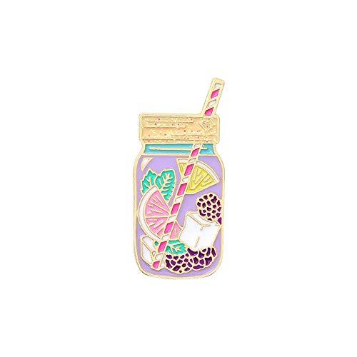 JKDFGJ Emaille Pins Tasse Tinte Flasche Obst Tee Brosche Schmuck Kiefern Pin Abzeichen Broschen für Kleidung Abzeichen Geschenke für Frauen 4 * 1,7 cm