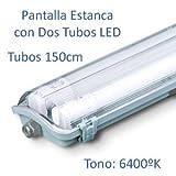 Pantalla Estanca con 2 Tubos LED 150cm (6400K)