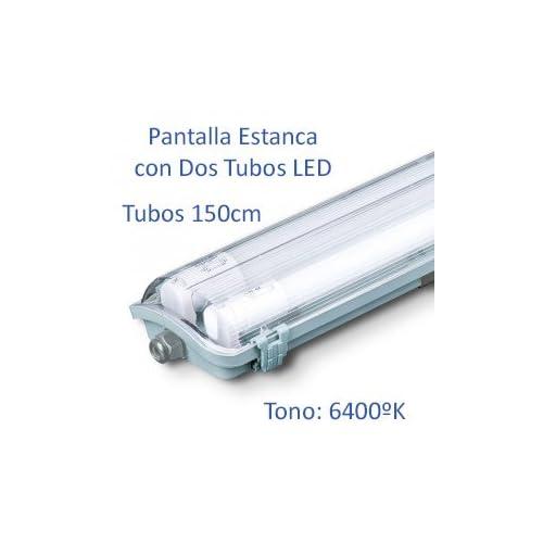 Pantalla Estanca con 2 Tubos LED 150cm (6400K): Amazon.es: Iluminación