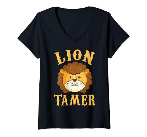 Mujer León Tamer Shirt - Camisa de circo - Disfraz de Domador de León Camiseta Cuello V