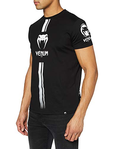 Venum Herren T-Shirt Logos, Schwarz/ Weiss, L, VENUM-03449-108-L
