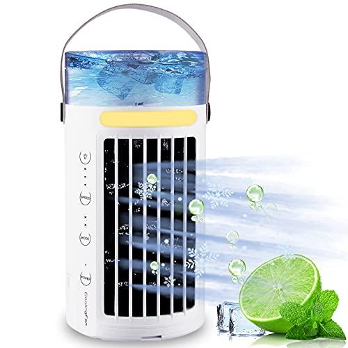 Mini aire acondicionado portatil silencioso mini enfriador de aire 5 en 1 aire...