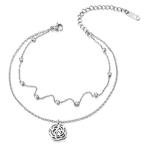 COOLSTEELANDBEYOND Zweireihige Damen Gliederkette Fußkette Fußkettchen mit Wulst und Baumelnde Rose, Verstellbare