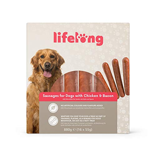 Marca Amazon - Lifelong - Treats para perros: Salchichas Hot Dog pollo y beicon, carne de calidad (880 gr, 16 piezas)