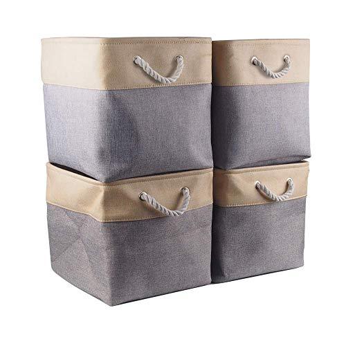 Mangata Cajas de Almacenaje, Cestas Almacenaje de Tela para Ropa, Armarios, Estantes, Juguetes, 33x33x33 cm (Plegable, 4X, Beige Gris)