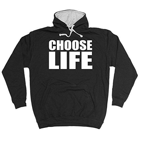 Funny Novelty Choose Life Hoody Sarcasm Joke Top Humour Nerd Geek Fancy Dress Film TV Birthday Gift Ideas 2 Tone Hoodie Fathers Day Clothing Couple Hoodies Hooded Tops Presents for m